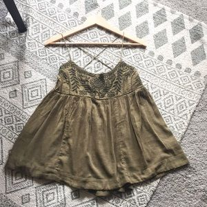 Free People Green Flowy Floral Embroidered Top